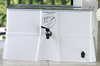 patented 1-piece cabinet is injection molded and includes built-in pure water reservoir